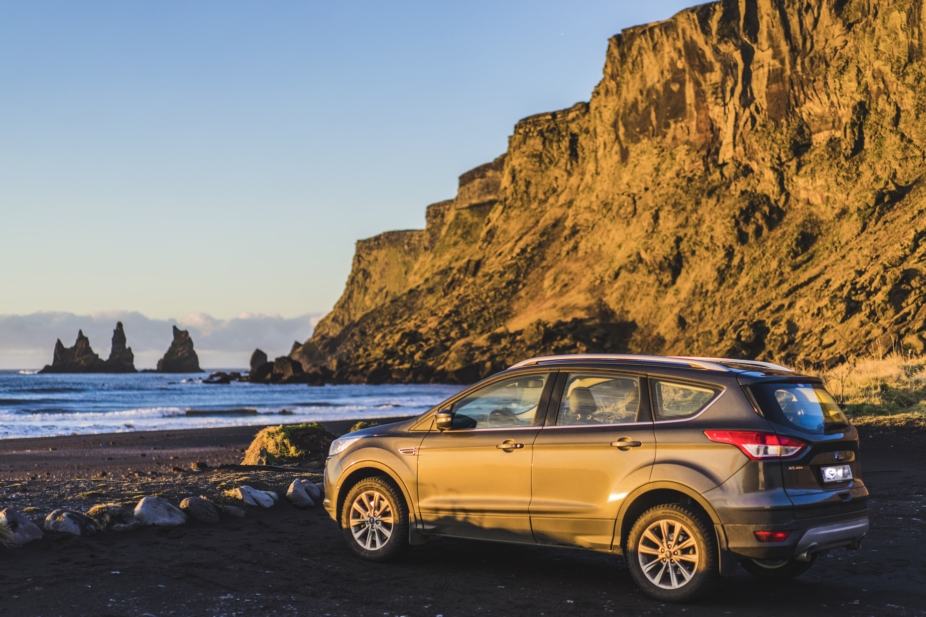 Ford escape during sunrise in Vik